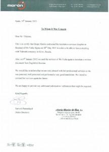 Благодарственное письмо от компании GRUPO MORON (Изготовление комплектующих для обуви, технических тканей), Испания