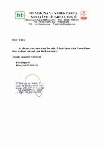 Благодарственное письмо от компании HT MAKINA LTD. (Оборудование для плазменной резки), Турция