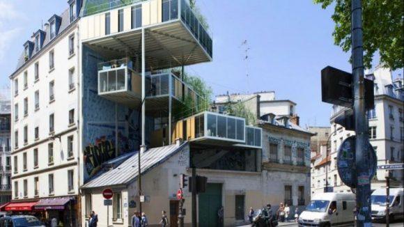 """""""Primeiras 3Box são construídas em Paris e se mostram como alternativa para ampliar o número de habitações. Foto: Stéphane Malka Architecture / Divulgação"""