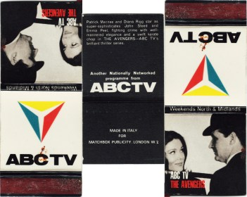 Patrick Macnee and Diana Rigg on a promotional matchbook