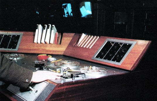 The tape wing of an ABC sound desk. Two quick-start tape decks, place side by side and closely linked to adjacent turntables, allow pre-recording of complex sequences.