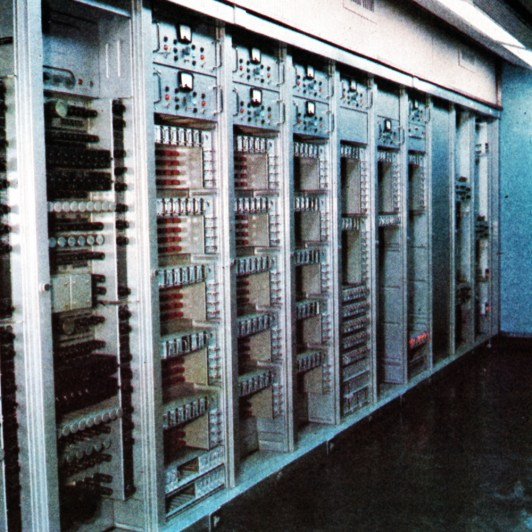 One of the electronic racks in the Central Apparatus Room, a switching and distribution centre that requires no operators. All selection of inputs is made by remote control, from the 'destination'.