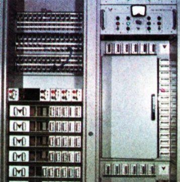 On the left: a 'patch' panel, equalising amplifiers, and vision distribution amplifiers. On the right: a switching matrix for selection of vision inputs to monitors and control suite mixer. Completely transistorised and modular, it was designed and made at Teddington.