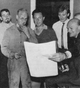 Studio Manager TERRY PACE presents Boilerman HAROLD CLOUGH with his retirement gifts with Electricians CARL MULLIGAN, HARRY PRICE and DAVE DILLON in attendance, Didsbury