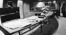 Studio 1 Production Control Room as it looked before the equipment was installed. Sound Control is through the window in the background and the studio itself is off to the right, behind the Director.