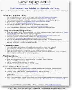 Carpet Buying Checklist