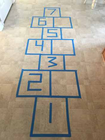 hopscotch painters tape math game!