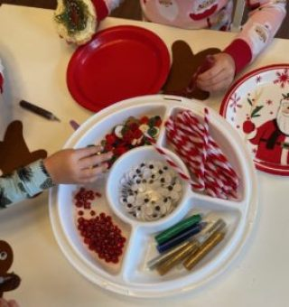 tray play gingerbread making activity