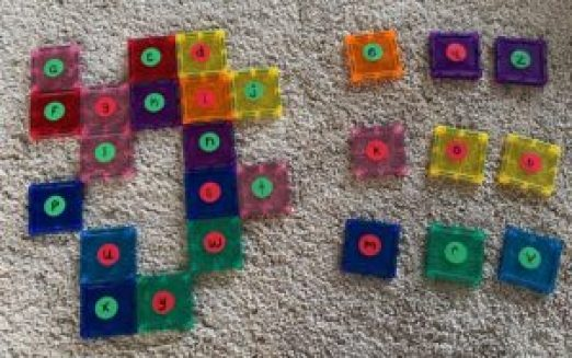 missing alphabet letters activity with magnet tiles