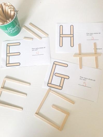 popsicle stick alphabet building