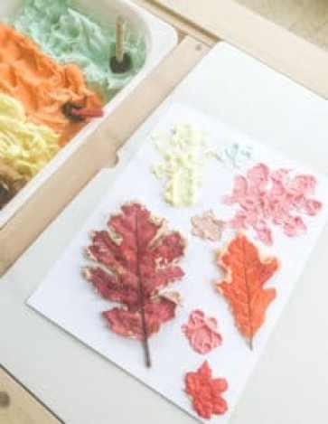 shaving cream leaf prints