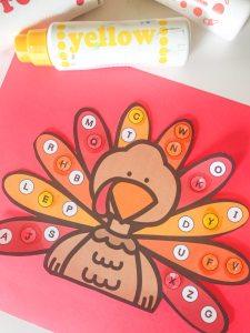 alphabet matching turkey activity