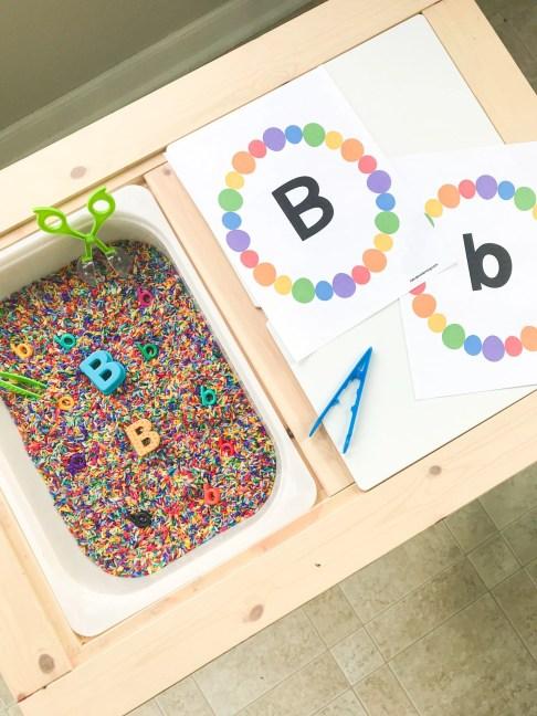 letter b sensory bin