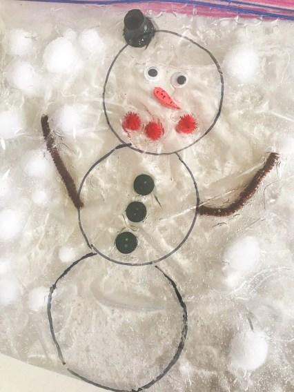 snow man sensory bag