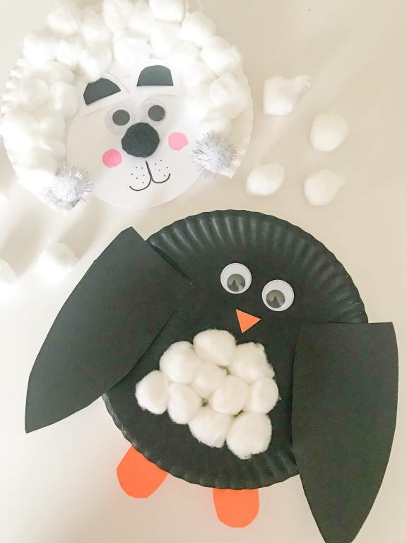 winter animal paper plate crafts