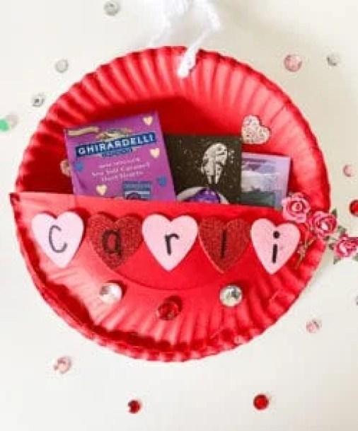 paper plate valentine holder