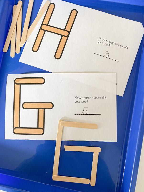 letter G popsicle sticks