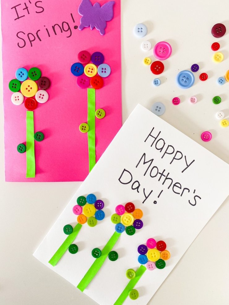 button flower cards