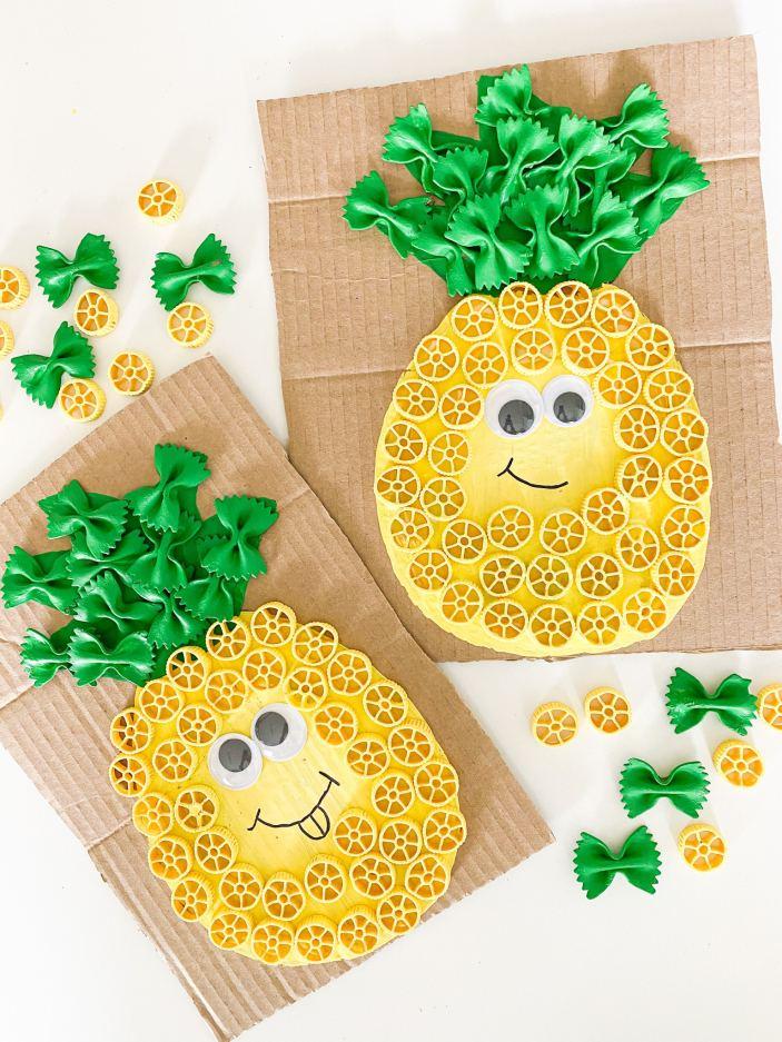 pinapple pasta painted craft