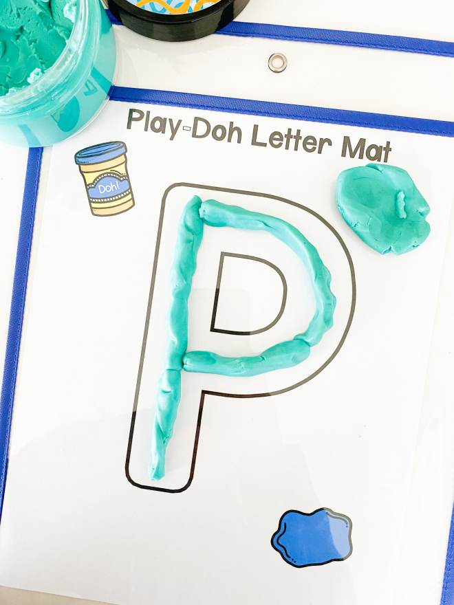 letter P Play doh building