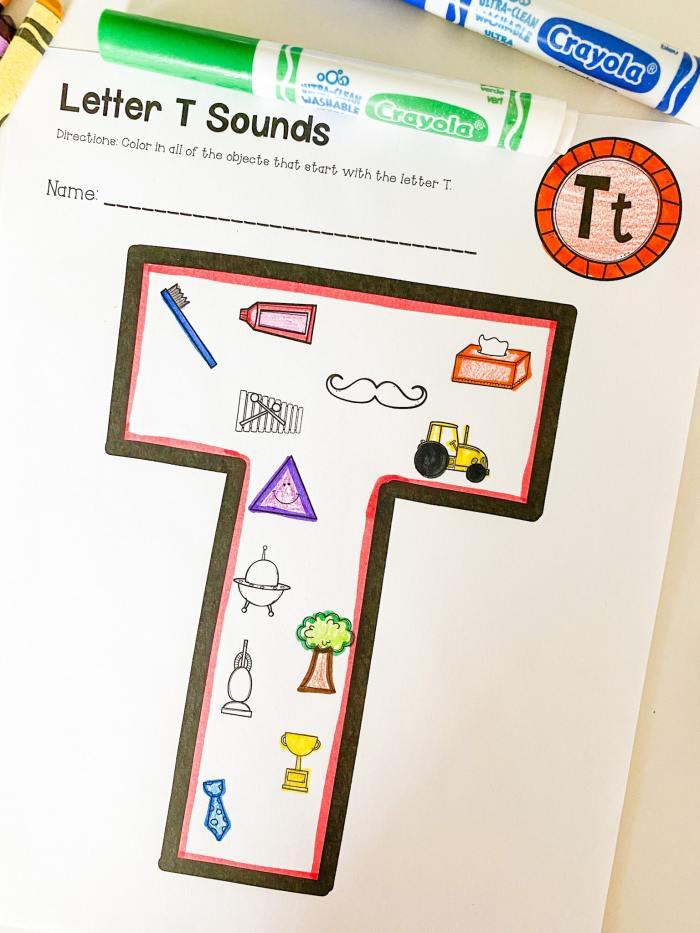 letter t beginning sounds printable