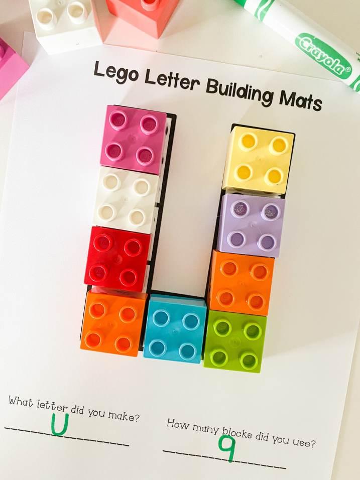 letter u lego mat