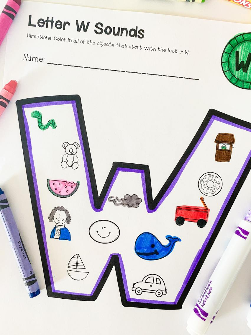 letter w beginning sounds printable