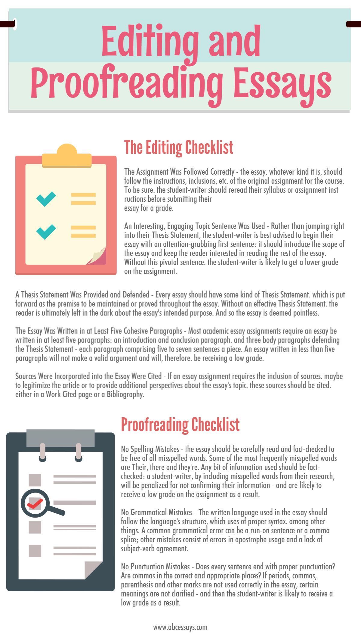 Essays Proofreading Worksheet