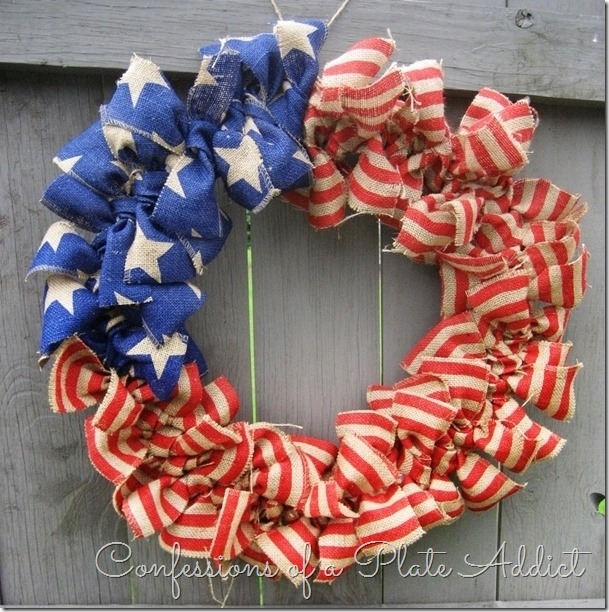 Red, white, and blue burlap wreath