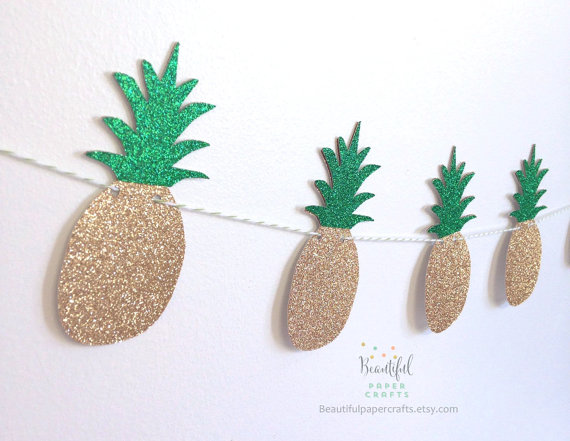 Glitter gold and green pineapple banner
