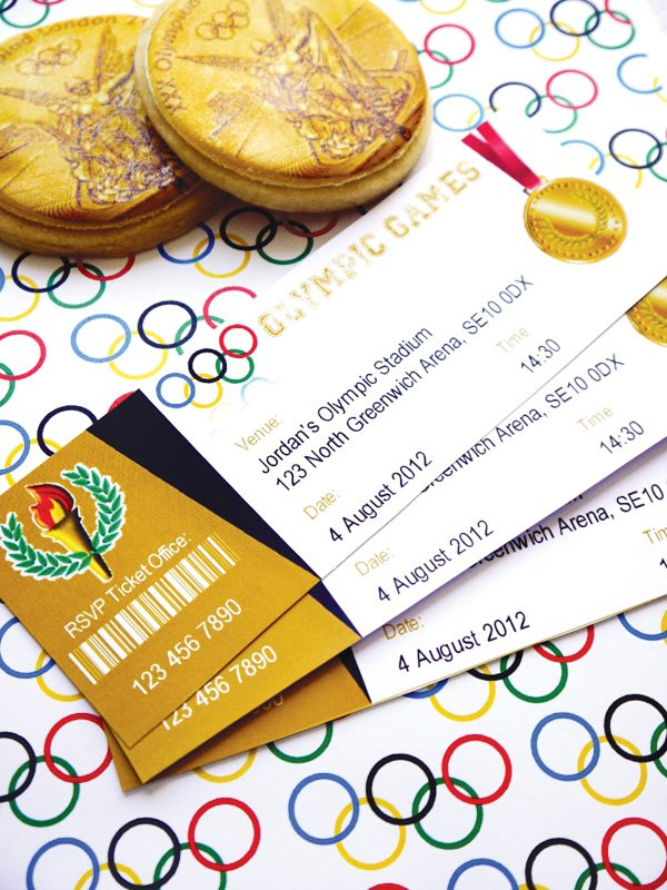 Olympic Games party ticket invitations