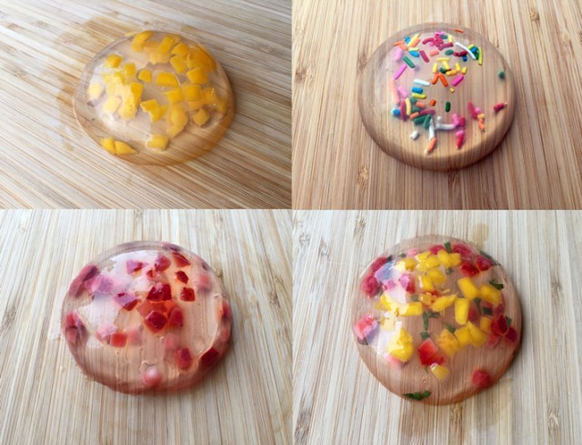Raindrop cake fruit and sprinkles