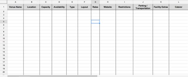 master spreadsheet - site selection