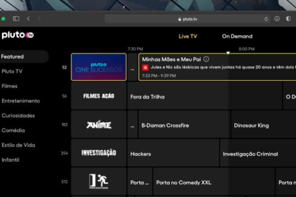 O Catálogo da Pluto TV Brasil conta com 27 canais ao vivo mais séries e filmes sob demanda