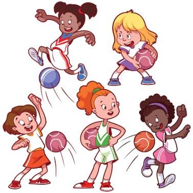 Cartoon kids playing dodgeball