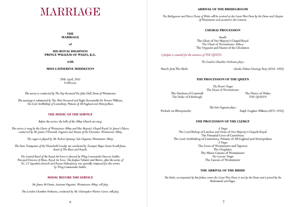 Official Royal Wedding Program Prince William And