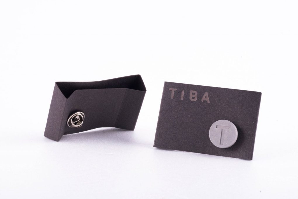 Concrete pin with brand identity custom made package
