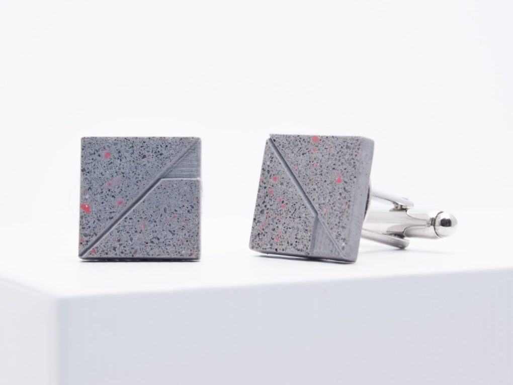 Gray terrazzo concrete cufflinks with tiny red parts