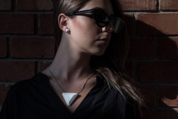 White geometric concrete designer jewelry set