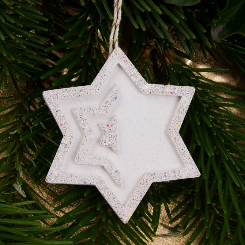 Christmas tree ornament star from concrete