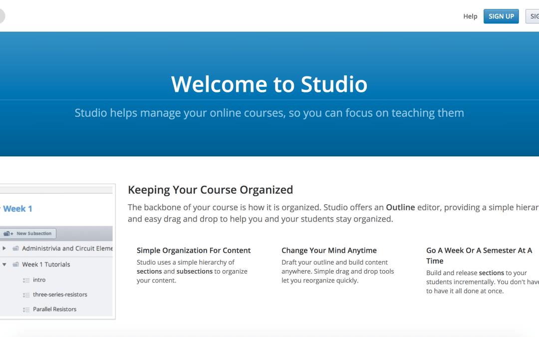 Image of Open edX Studio Homepage