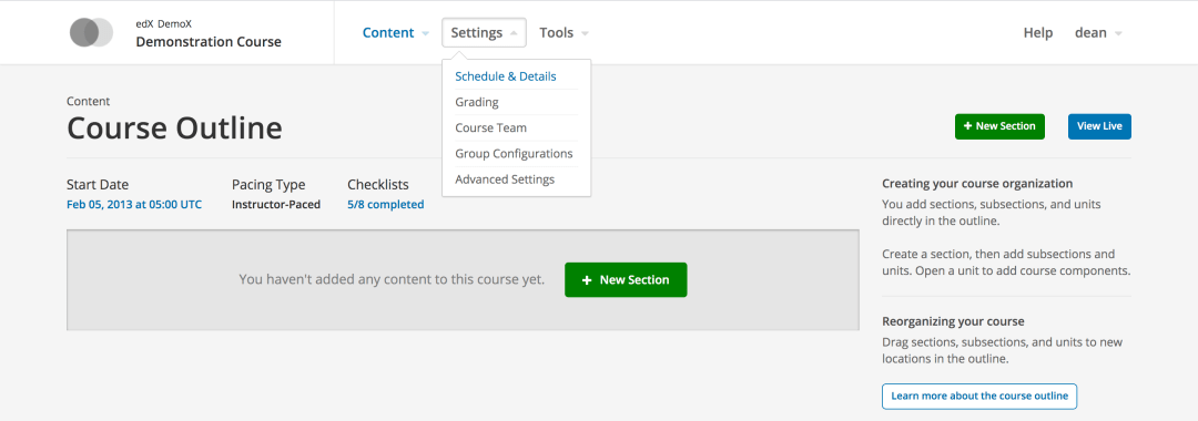 Open edX Settings Menu