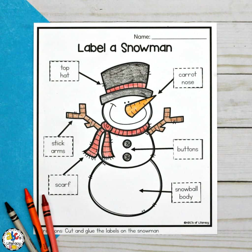 Cut And Paste Label A Snowman Worksheet For Winter