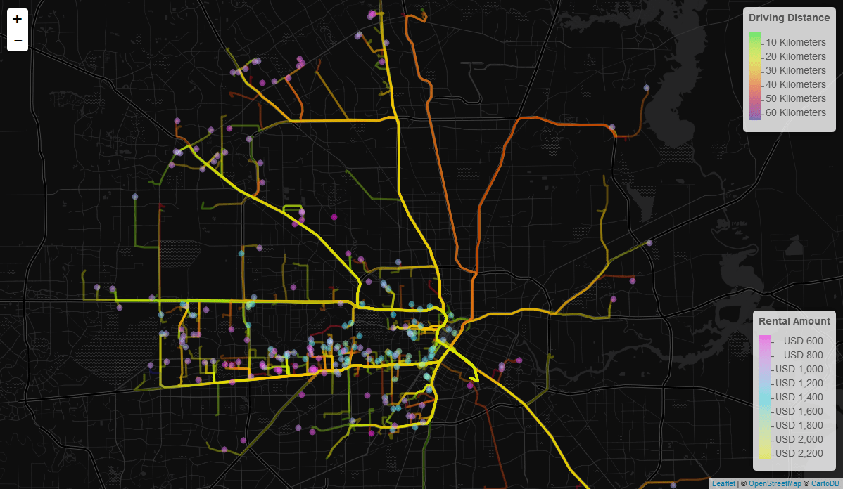 Plotting Driving Routes and Rental Data for Houston | gepaf