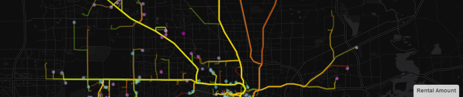 Plotting Driving Routes and Rental Data for Houston | gepaf, gmap
