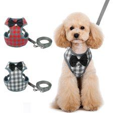 Plaid Dog Bow Harness and Leash Sets