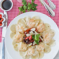 A Rustic Rendition of Shrimp Ravioli with Sun-Dried Tomatoes Salsa