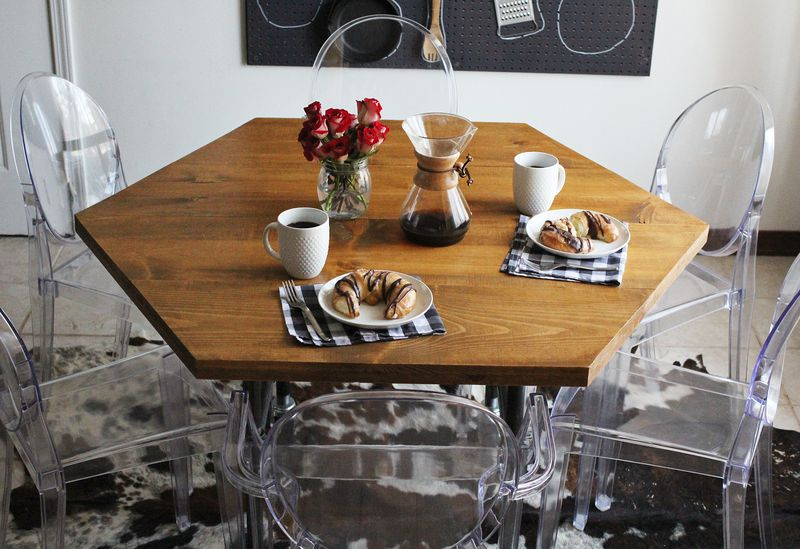 diy honeycomb table with industrial