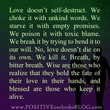 24. Dislacement: Love does not self destruct