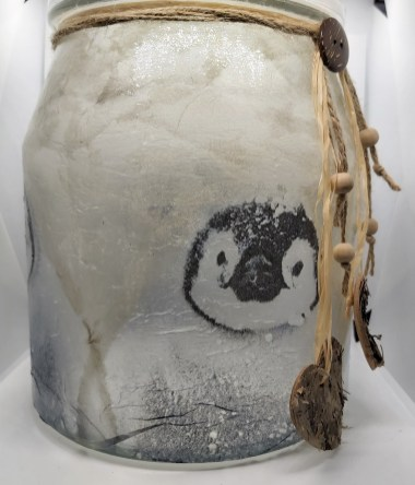 Decorated glassware: Cookie Jar - Penguins